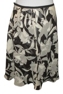 Ann Taylor Knee Length Floral Fall Skirt Brown and white chiffon