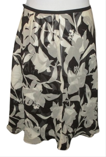 Ann Taylor Floral Fall Pattern Skirt Brown and white chiffon