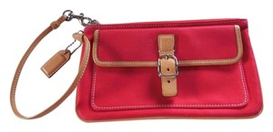 Coach Logo Canvas Leather Trim Buckle Close Wristlet in Red