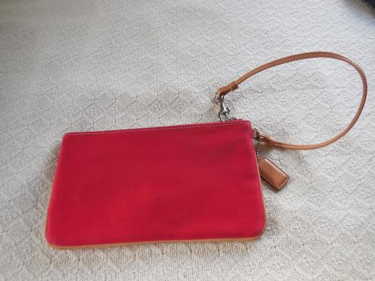 Coach Logo Canvas Leather Trim Buckle Close Wristlet in Red Image 1