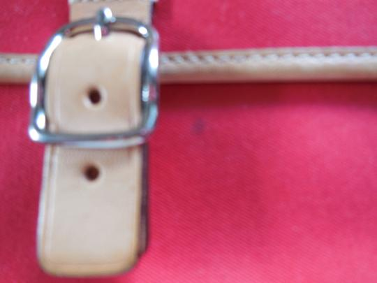 Coach Logo Canvas Leather Trim Buckle Close Wristlet in Red Image 3