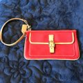 Coach Logo Canvas Leather Trim Buckle Close Wristlet in Red Image 4