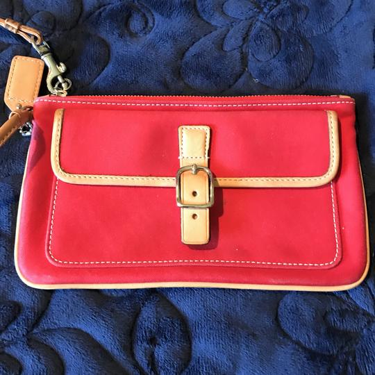 Coach Logo Canvas Leather Trim Buckle Close Wristlet in Red Image 5