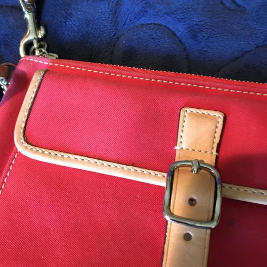 Coach Logo Canvas Leather Trim Buckle Close Wristlet in Red Image 6