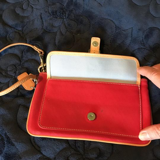Coach Logo Canvas Leather Trim Buckle Close Wristlet in Red Image 7