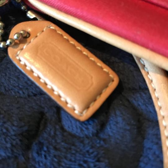 Coach Logo Canvas Leather Trim Buckle Close Wristlet in Red Image 8