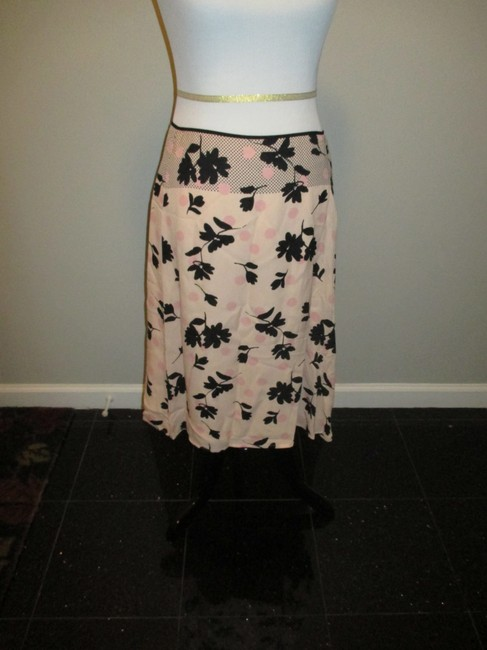 Banana Republic Polka Dot Floral Skirt Pink