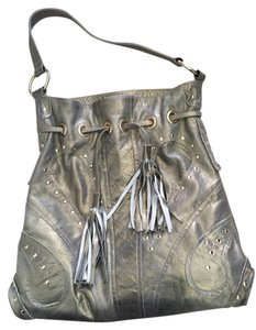 Le'Bulga Studded Fringe Tassels Leather Hobo Bag