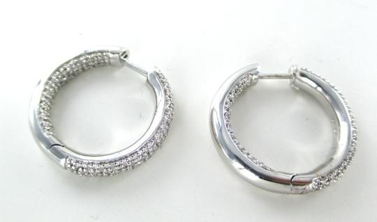 Other 14KT WHITE GOLD EARRINGS HOOP 260 PAVE DIAMOND 1.30 CARAT 8.5 GRAMS FINE JEWELRY
