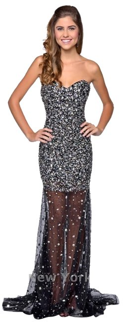 Milano Formals Homecoming Long Beaded Prom Dress