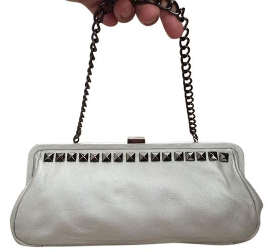 Kenneth Cole Leather Pearl Silver Clutch