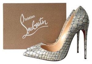 Christian Louboutin So Kate 120mm Lurex Gold Blue Metallic Pigalle Follies Decollete Croc Crocodile Silver Pumps