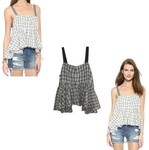 Free People Window Pane Plaid Lola Size Medium Tea Combo Top Gray, White