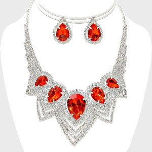 Red And Clear Teardrop Rhinestone Crystal Necklace And Earrings Set