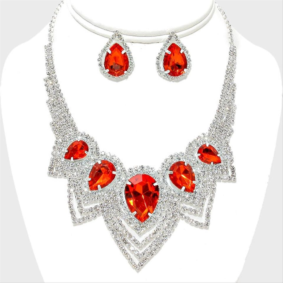 4a8ef03fdc Red Clear Crystal Silver And Teardrop Rhinestone Necklace and Earrings Jewelry  Set Image 0