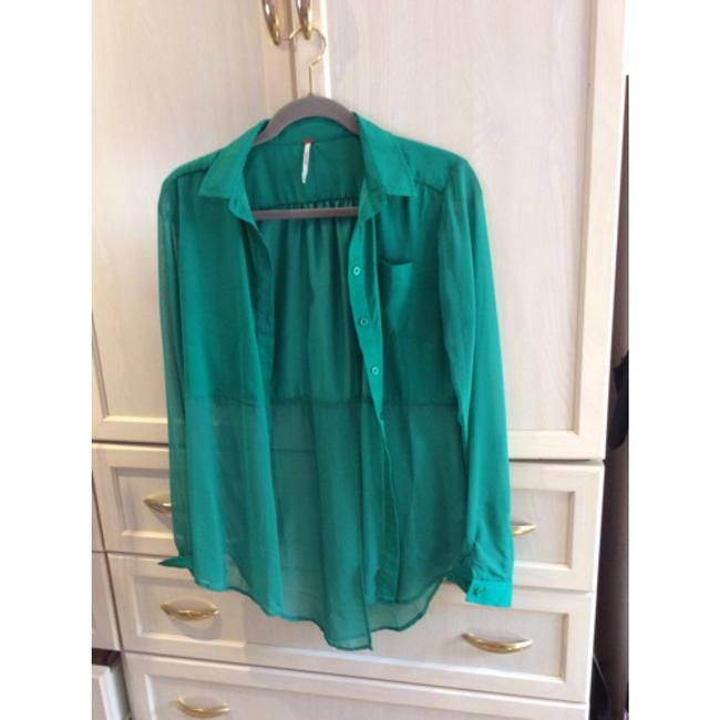 Free People Silk Sheer Button Down Shirt Teal