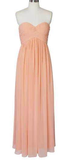 Peach Chiffon Strapless Sweetheart Long Feminine Bridesmaid/Mob Dress Size 14 (L)