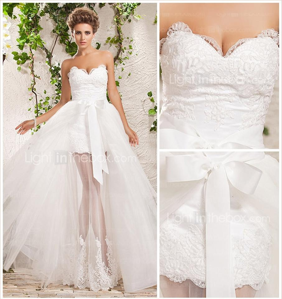 Soft White Two-in-one A-line Princess Sweetheart Floor-length Tulle ...