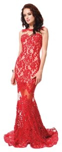 Prom Train Sheer Lace Dress