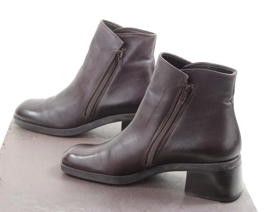 Nine West Ankle Double Zippers Leather Brown/burgundy Leather Made In Brazil Chunky Heel Coffee Brown Boots