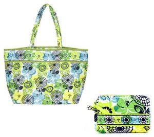 Vera Bradley Up Grand Cosmetic Set Tote in Lime's Up