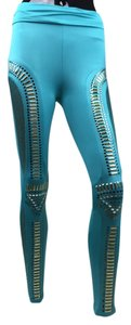 Embellished Fishnet Blue Jade Leggings