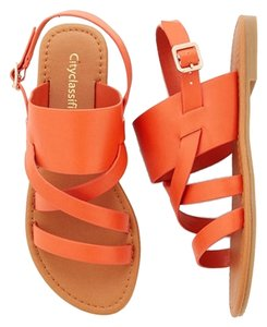 City Classified Flat Strappy Orange Sandals