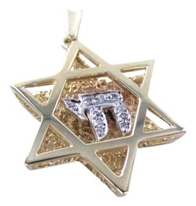 14KT YELLOW GOLD PENDANT STAR OF DAVID JEWISH DIAMOND ISRAEL 6.2 gram CHARM CHAI