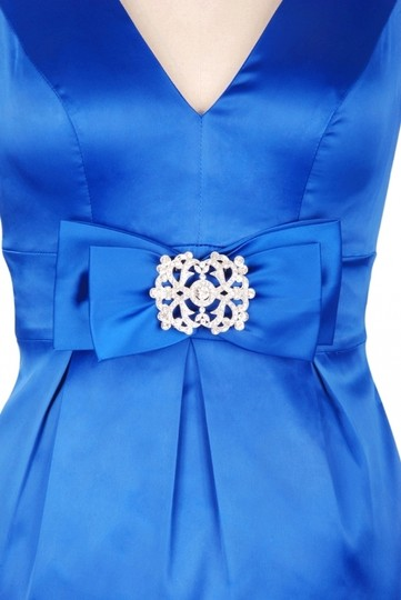 Blue Satin V-cut W/ Removable Rhinestone Brooch Sexy Bridesmaid/Mob Dress Size 16 (XL, Plus 0x)