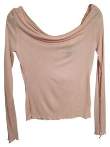 Express Draping Sheer Long Sleeves Top Pink