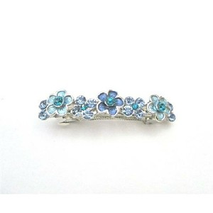 Filigree Blue Barrette Aquamarine Crystals Light & Dark Barrette