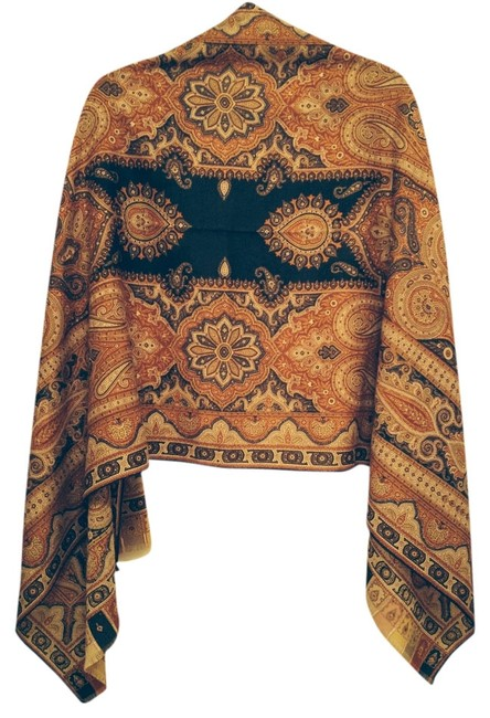 Item - Black Background Paisley and Orange Yellow and Red Oblong Cashmere Scarf/Wrap