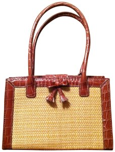 Liz Claiborne Tote in Brown and Straw colored