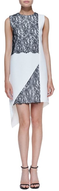 Robert Rodriguez And Lace Asymmetrical Hem Geometric Shift Sleeveless Hi Lo Shift Party High Neck Shaped Dress