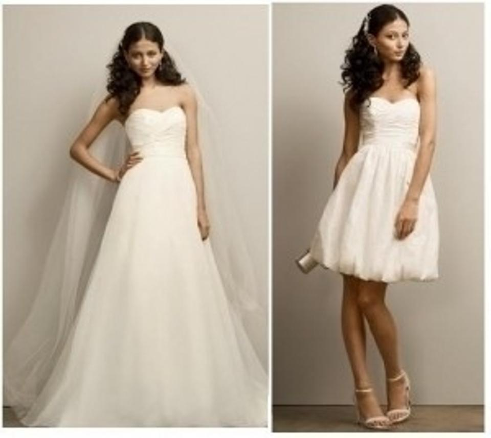 David's Bridal Ivory Organza Two-in-one Sweetheart