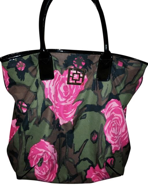 Item - Essential Multi - Bright Pink Army Green Brown and Black Tote
