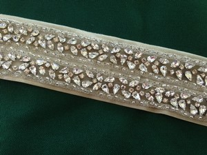 Erin Cole Bridal Couture Sash Rhinestone Beaded Velet Tie Ribbon Ivory Wedding Dress