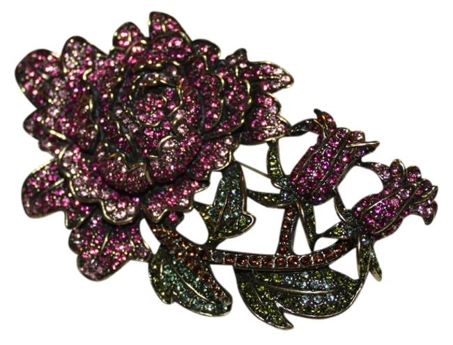 Item - Pink Green and Gold Crystal Studded Brooch