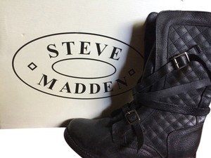 Steve Madden Strappy Leather Winter Winter Black Boots