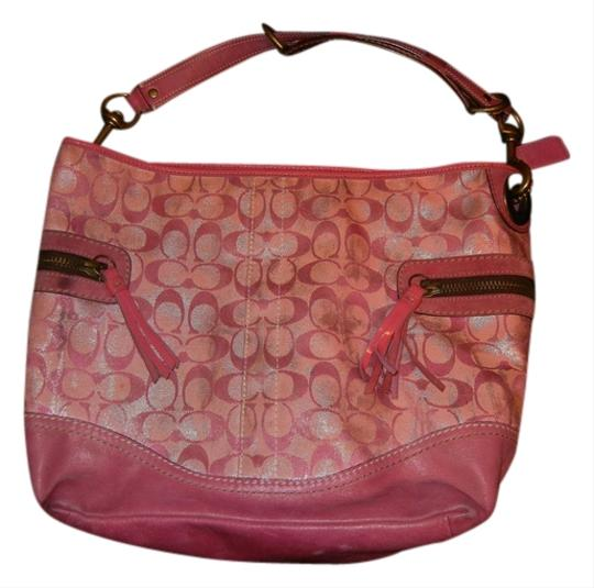 Preload https://item2.tradesy.com/images/coach-logo-pink-fabric-and-leather-tote-523196-0-0.jpg?width=440&height=440