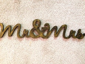 Black with Gold Mr & Mrs Sign Cake Topper