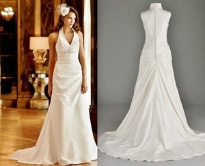 David's Bridal White Taffeta Sml9790 Formal Wedding Dress Size 12 (L)