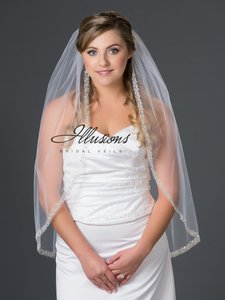 Illusions Bridal Bugle Bead And Pearl Accent Veil V7050