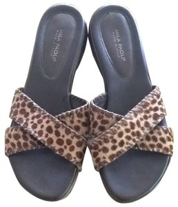Mila Paoli Brown Animal Print Sandals