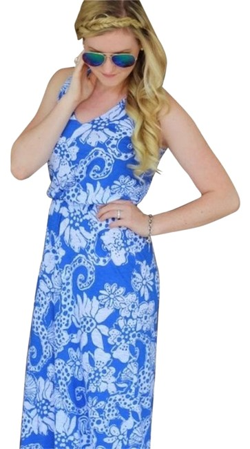 Colbolt & White Maxi Dress by Lilly Pulitzer Racer-back Pattern Maxi
