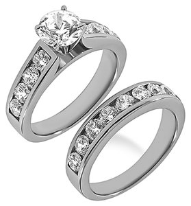 BRAND NEW 14K White Gold Diamond Bridal Ring Set