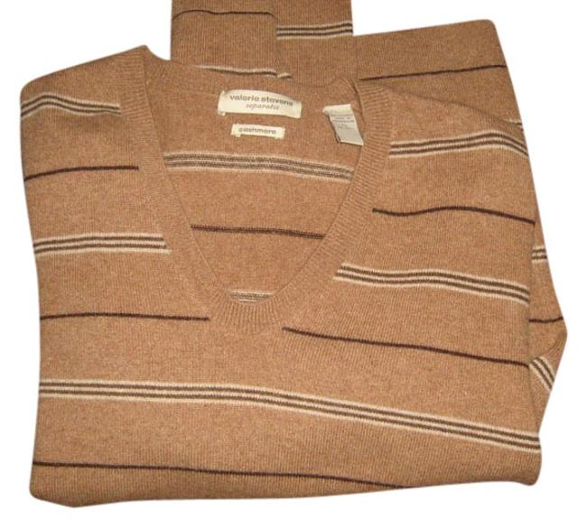 Preload https://item4.tradesy.com/images/valerie-stevens-brown-and-tan-cashmere-sweaterpullover-size-16-xl-plus-0x-523378-0-0.jpg?width=400&height=650