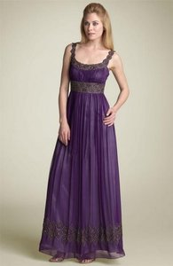 Adrianna Papell Purple Adriana Papell Beaded Chiffon Gown Dress
