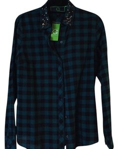 C Label Button Down Shirt Emerald/black