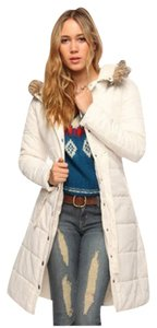 Forever 21 White Long Quilted Coat